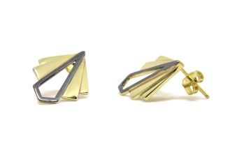 Art Deco Fans, 2014, 14kt yellow gold, black rhodium