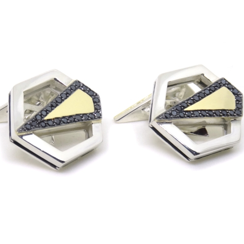 Gold Art Deco Hexagons, 2014, 14kt yellow gold, silver, black diamonds, black rhodium