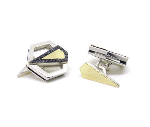 Gold Art Deco Hexagons, 2014, 14kt yellow gold, silver, black diamonds, black rhodium