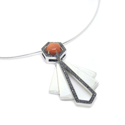 Art Deco Hexagons, silver, black diamonds, black rhodium, 14kt yellow gold, coral