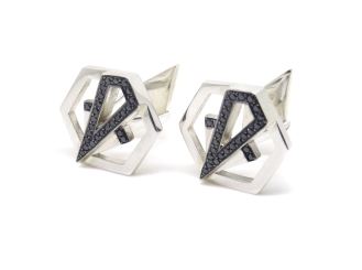 Art Deco Hexagons, 2014, silver, black diamonds, black rhodium