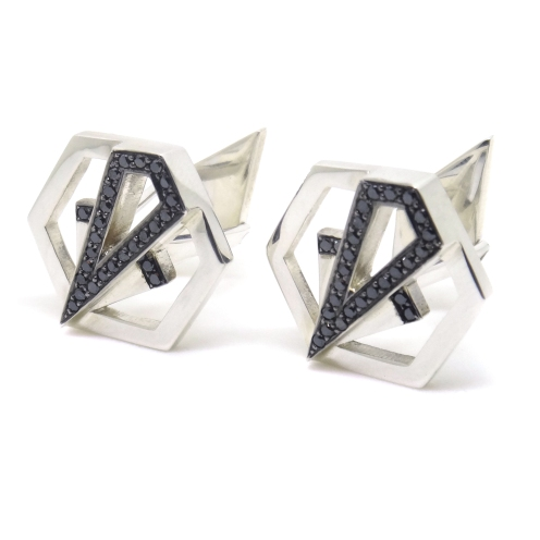 Art Deco Hexagons, 2014, silver, black diamonds, black rhodium