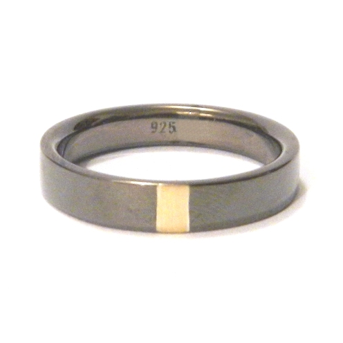 Dan's engagement ring, 2012, 18kt yellow gold, black rhodium plated 925 silver