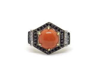 Art Deco Hexagons, 2014, silver, black diamonds, white diamonds, black rhodium, 14ct yellow gold, coral