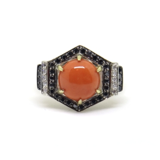 Art Deco Hexagons, 2014, silver, black diamonds, white diamonds, black rhodium, 14kt yellow gold, coral