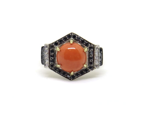 Art Deco Hexagons, 2014, silver, black diamonds, white diamonds, black rhodium, 14ct yellow gold, coral
