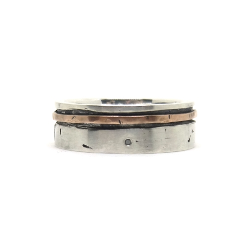 I Wonder If……. 2015, 925 silver, copper, black diamond