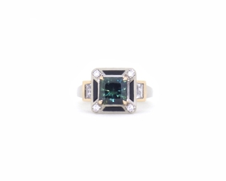 In Your Honour, 2017, 18kt white gold, 18ct rose gold, diamonds, parti sapphire, white sapphires, onyx