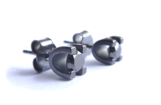 Leo's studs for his lady, 2013, black diamonds and oxidised 925 silver.