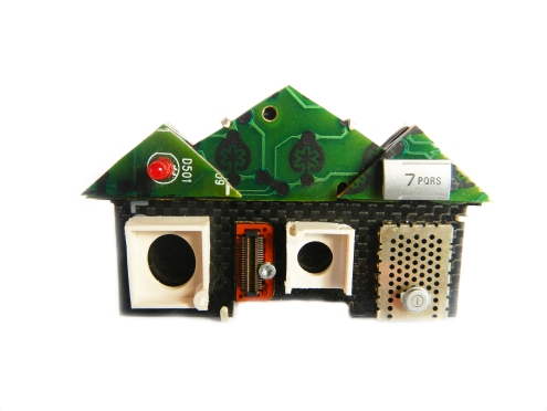 7 Dylan Court, Woodcroft, Phone Home brooch series, 2011, 925 silver, recycled mobile and phone parts