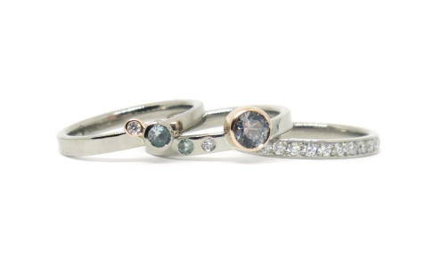 'Stacks Of Love', 2018, 18kt white gold, 18ct rose gold, diamonds, grey spinel, green spinel, mint tourmaline