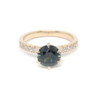 M, 14kt rose gold, parti sapphire, diamonds